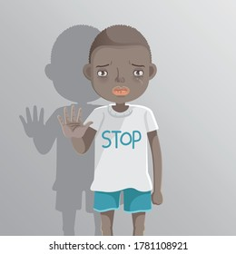 African boy STOP sign with his hands. Racist children concopt. Problems racial differences concept. Children's health problems. Child abuse problems. Stop bullying on their classmate in school.