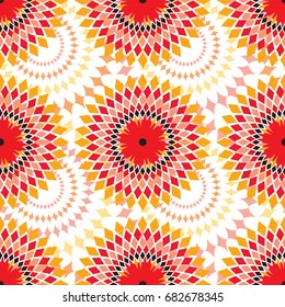 African bright pattern in red and orange