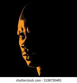 African Brutal Bald Man portrait silhouette in contrast backlight. Vector.