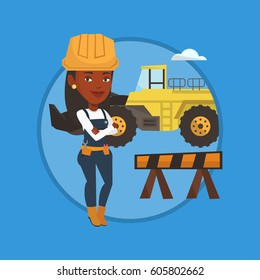 African builder standing with arms crossed. Builder in hard hat standing on the background of construction site or road works. Vector flat design illustration in the circle isolated on background.