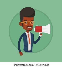 African business man promoter holding a megaphone. Business man promoter speaking into a megaphone. Social media marketing concept. Vector flat design illustration in the circle isolated on background