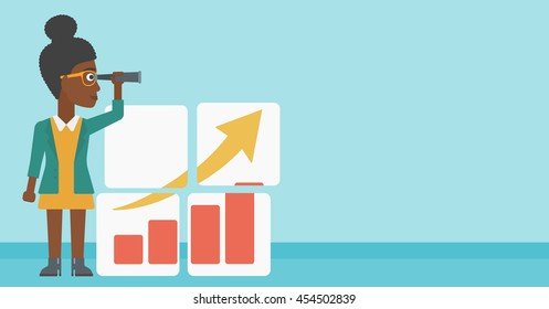 An african business woman looking through a spyglass at chart. Woman searching opportunities for business growth. Business vision concept. Business vector flat design illustration. Horizontal layout.