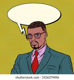 African businessman. A confident competent man. Pop art retro vector illustration vintage kitsch 50s 60s style