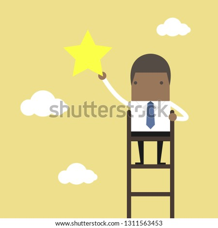 African Businessman On Ladder Grab Star Stock Vector