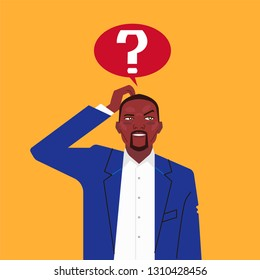 African businessman with question mark