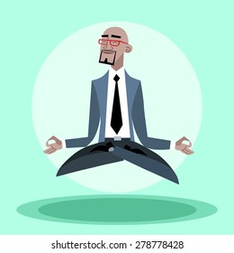 African businessman quiet hangs in the air like a yogi. Confidence and business