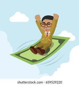 african businessman ride a flying money