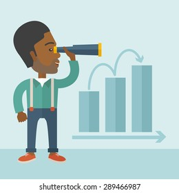 An african businessman standing using binocular to look over the graph that shows increasing in slaes. Growing business concept. A Contemporary style with pastel palette, soft blue tinted background