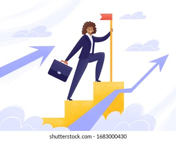 African businesswoman in a flat style. Successful business woman climbed up the career ladder or stairs. Vector stock illustration with up arrow chart in clouds isolated on white background.
