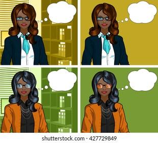 African Businesswoman pop art comic