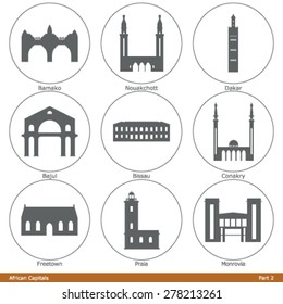 African Capitals. Icon Set (Part 2)
