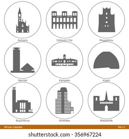 African Capitals. Icon Set (Part 4)