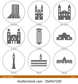 African Capitals. Icon Set (Part 5)