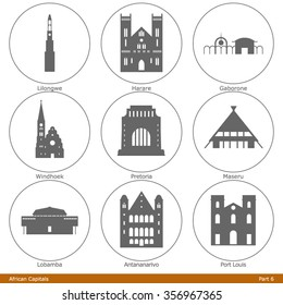 African Capitals. Icon Set (Part 6)