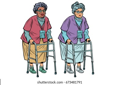 African and Caucasian old ladies with walker. active lifestyle of seniors. Pop art retro vector illustration