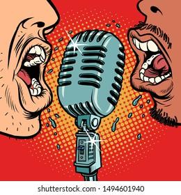 African and Caucasian people vintage retro microphone. Music standup concert radio podcast blog. Comic cartoon pop art retro vector illustration drawing