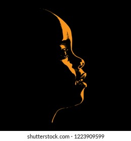 African child looking up. Baby Contour. Silhouette in backlight. Vector. Illustration.