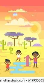 African children playing near water near tap under hot sun on area with many exotic plants vector illustration in flat design, drink waters in desert
