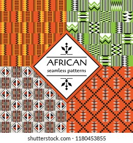 African Cloth Kente. Set of Ethnic seamless patterns. Geometric design.