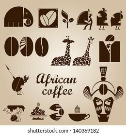 African coffee design set in vector