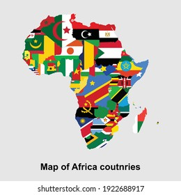 African continent countries map isolated vector illustration