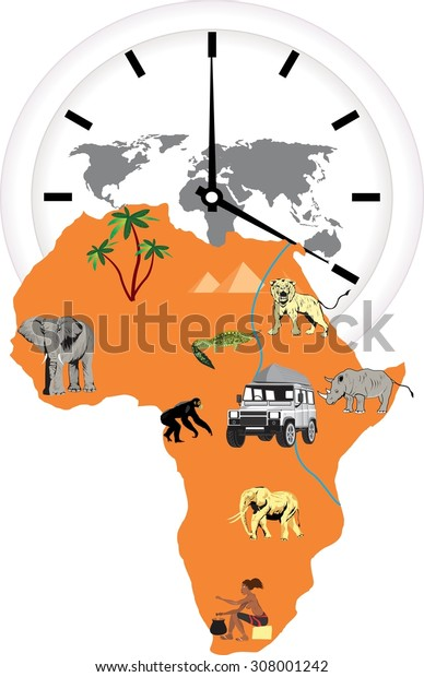 African continent, map describing continents features  illustration. Isolated on white, elephant, lion, giraffe Isolated on white