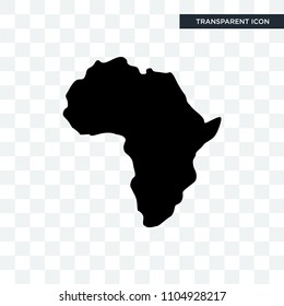 african continent outline on white background vector icon isolated on transparent background, african continent outline on white background logo concept