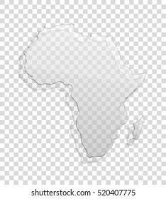 African continent transparent icon Image. Africa glass background Picture. Vector Silhouette