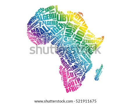 African Countries Map Typography Word Cloud Stock Vector (Royalty ...