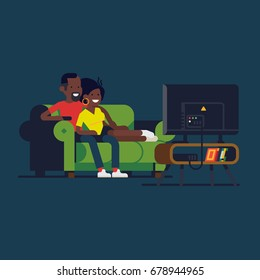 African couple watching TV. Cool vector flat design illustration on african american couple enjoying their evening together on sofa watching favorite TV show