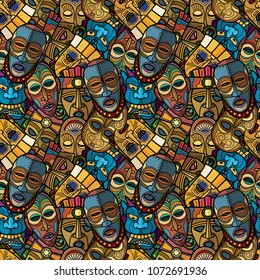 African craft voodoo tribal mask and inca south american culture totem symbols seamless pattern. Vector illustration