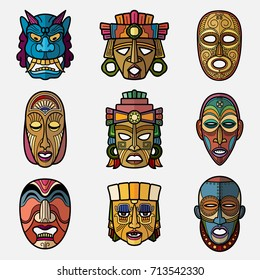 African craft voodoo tribal mask and inca south american culture totem symbols vector set. African mask souvenir, voodoo traditional face illustration