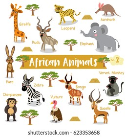 African creature cartoon on white background with animal name, Vector illustration. Set 2.