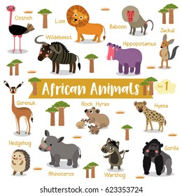 African creature cartoon on white background with animal name, Vector illustration. Set 1.