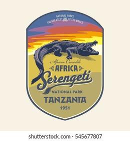 African Crocodile at dawn, Serengeti national Park, Tanzania, illustration, vector