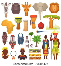 African culture vector characters in traditional clothing in Africa with ethnic tribal mask or drums in safari travel wildlife with animals in savanna set illustration isolated on white background
