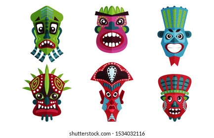 African Decorative Ancient Mask To Put On Face Vector Illustration Set.