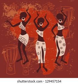 African design. Beautiful ethnic women traditionally dancing.