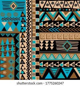 Afrikanische Dodle-ethnische Textur in Blau- und Brauntönen