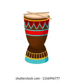 African drum djembe with ethnic ornament, authentic symbol of Africa vector Illustration on a white background
