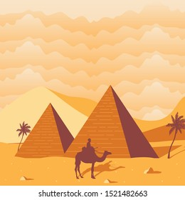 African Egyptian Pyramid Desert Image Background Vector
