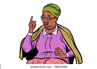 African elderly woman pointing finger up, isolate on white background. Pop art retro vector illustration