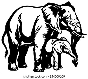 african elephant mother with baby black and white side view illustration