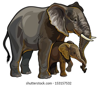 african elephant mother with baby side view vector illustration isolated on white background