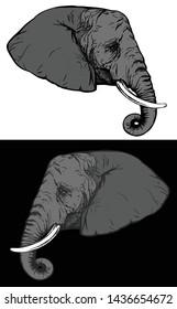 african elephant profile portrait - wild animal side view head realistic vector design