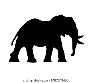 African elephant vector illustration. Black silhouette of an animal.