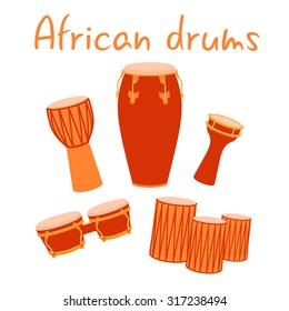 African ethnic conga bongos salsa drums vector set