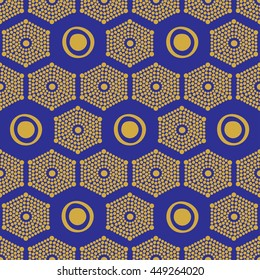 African ethnic pattern gold and blue