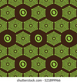 African ethnic pattern lime green on a brown background