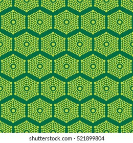 African ethnic pattern plain lime green pattern on a dark green background
